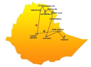 Map and itinerary of AE02 Ethiopia tour : Addis Ababa, Gheralta, Hamedela, Dallol, Erta Ale, Afdera, Awash, Dire Dawa, Harar