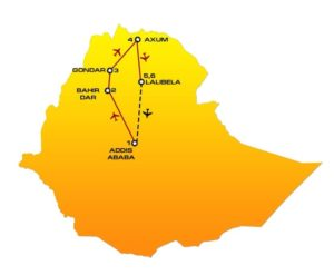 Map and itinerary of HN02 Ethiopia tour : Addis Ababa, Bahir Dar, Gondar, Axum, Lalibela