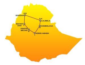 Map and itinerary of HN03 Ethiopia tour : Addis Ababa, Kombolcha, Lalibela, Gondar, Bahir Dar, Finote Selam