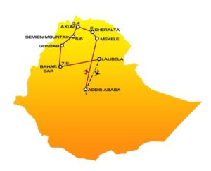 Map and itinerary of HN04 Ethiopia tour : Addis Ababa, Gheralta, Axum, Siemien Mountains, Gondar, Bahir Dar, Lalibela