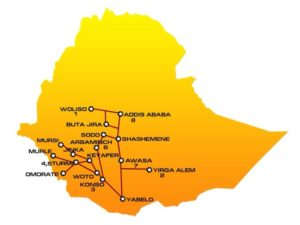 Map and itinerary of SOV03 Ethiopia tour : Woliso, Yirga Alem, Konso, Turmi, Arbaminch, Awasa, Addis Ababa