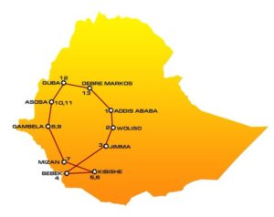 Map and itinerary of WE01 Ethiopia tour : Addis Ababa, Woliso, Jimma, Bebek, Kibishe, Mizan, Gambela, Asosa, Guba, Debre Markos,