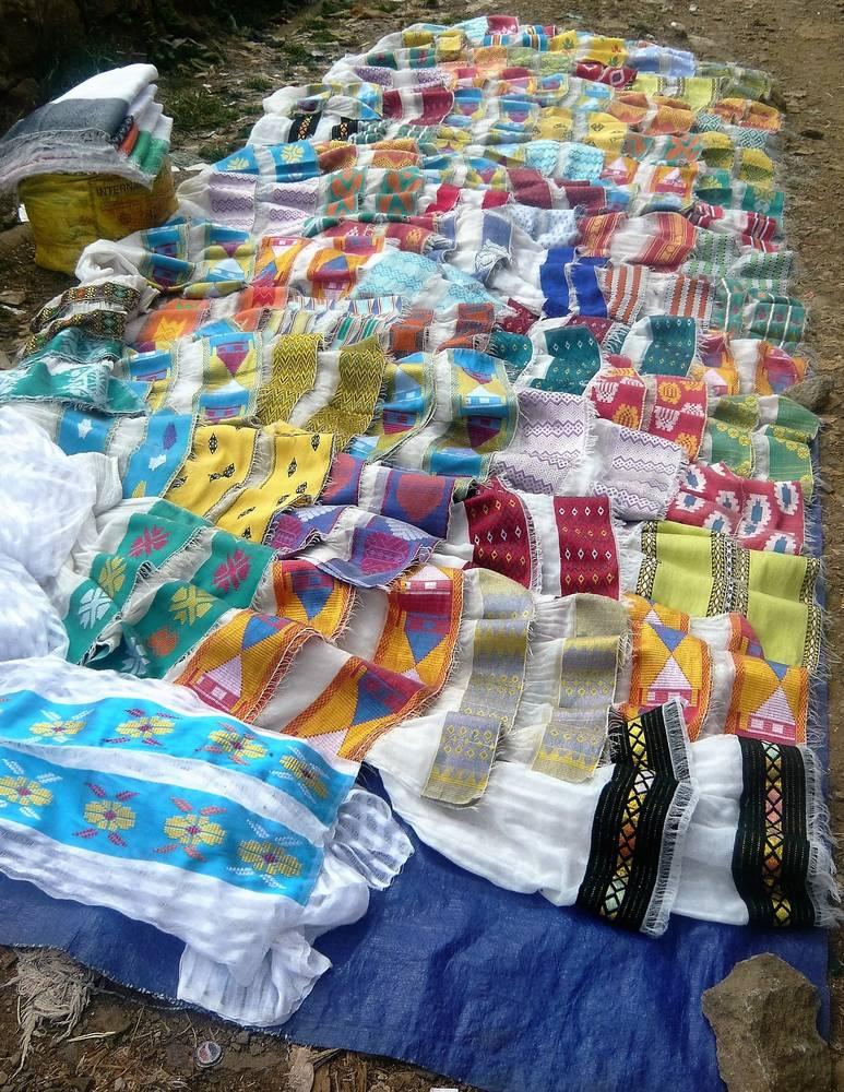 Colored ethiopian scarves in local market, Ethiopia