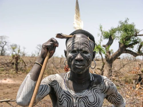 Mursi tribe man in Omo Valley, South Ethiopia
