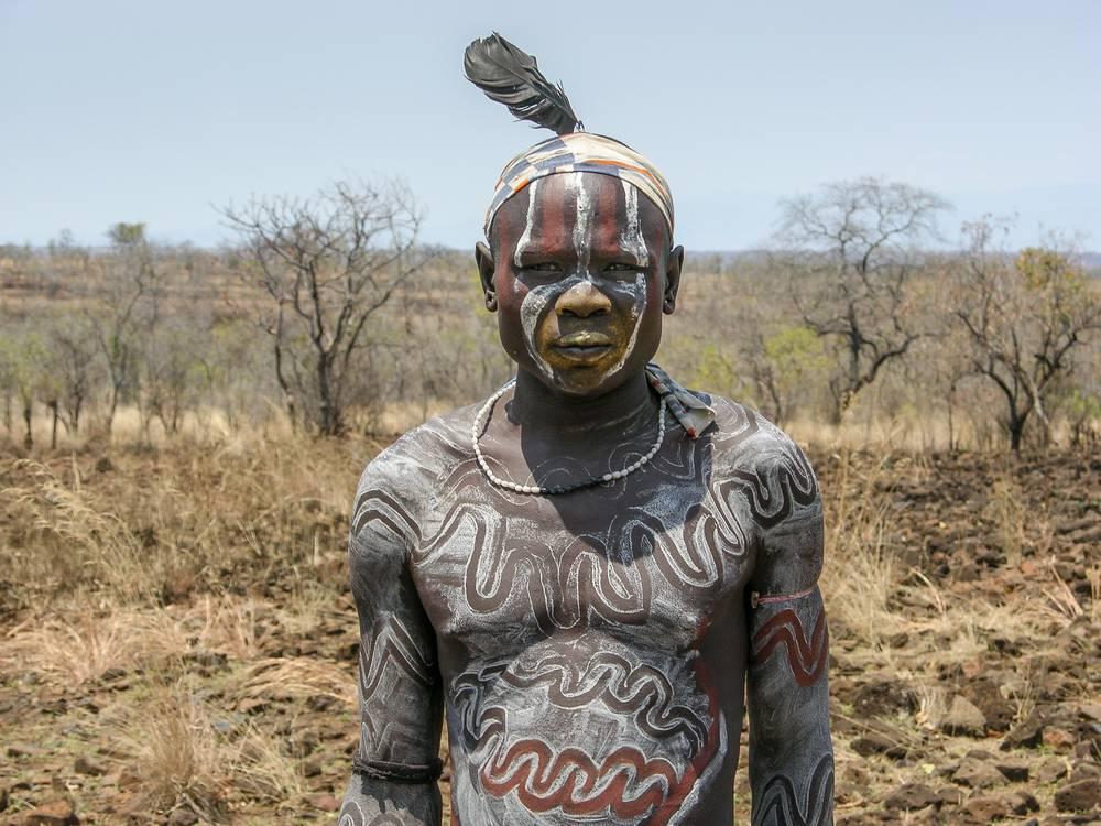 Mursi tribe man in Omo Valley, South Ethiopia