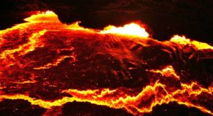 Erupting Erta Alé Volcano, Danakil Depression, East Ethiopia