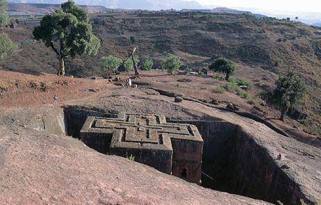 rock hewn church Bet Giorgis in Lalibela, North Ethiopia