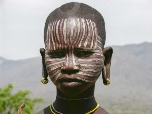 Surma tribe woman in Omo National Park, South West Ethiopia