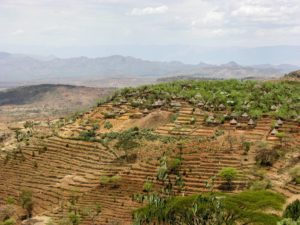 Konso village landscape in Omo Valley, South Ethiopia