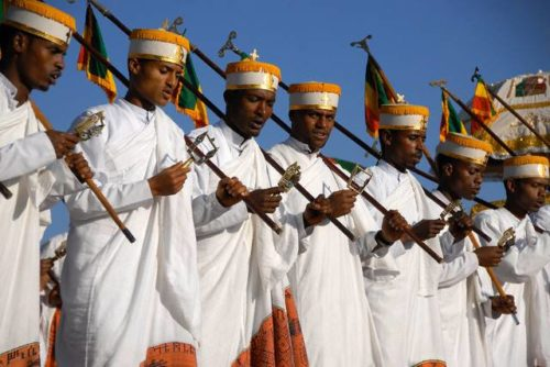Priests at Orthodox church festivals, Ethiopia