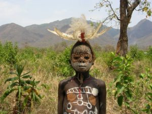 Young boy from Surma tribe, Omo valley, south of Ethiopia
