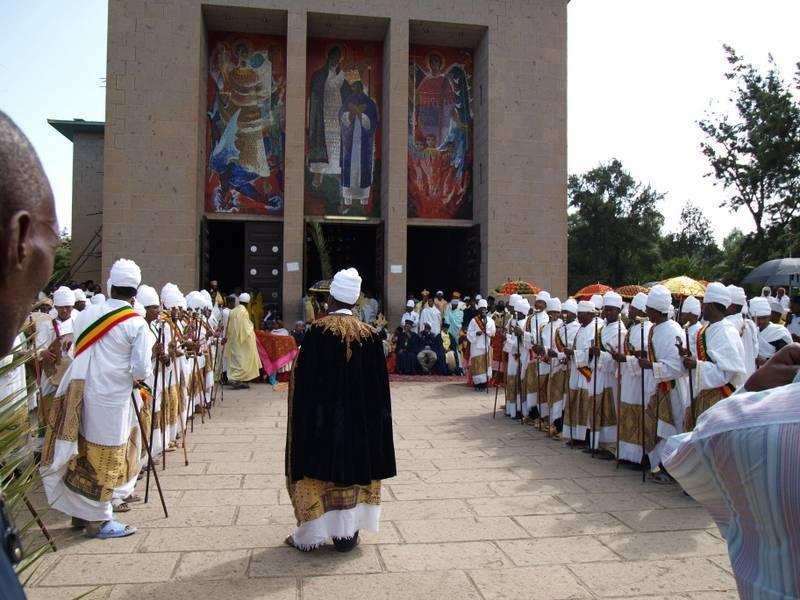 Celebration in front of Debre Libanos Church Monastery, North Ethiopia
