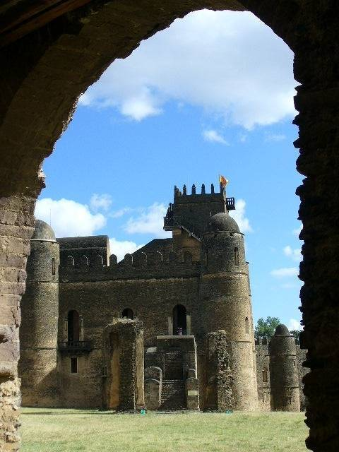 Royal compound Fasiladas, palace Camelot of Africa, in Gondar, North Ethiopia