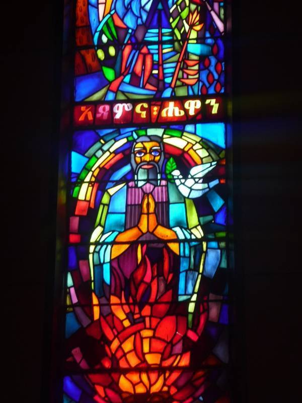 Stained-glass window in Debre Libanos Church Monastery, North Ethiopia