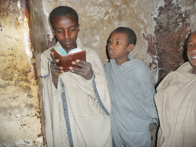 Lalibela young boys in church, North Ethiopia