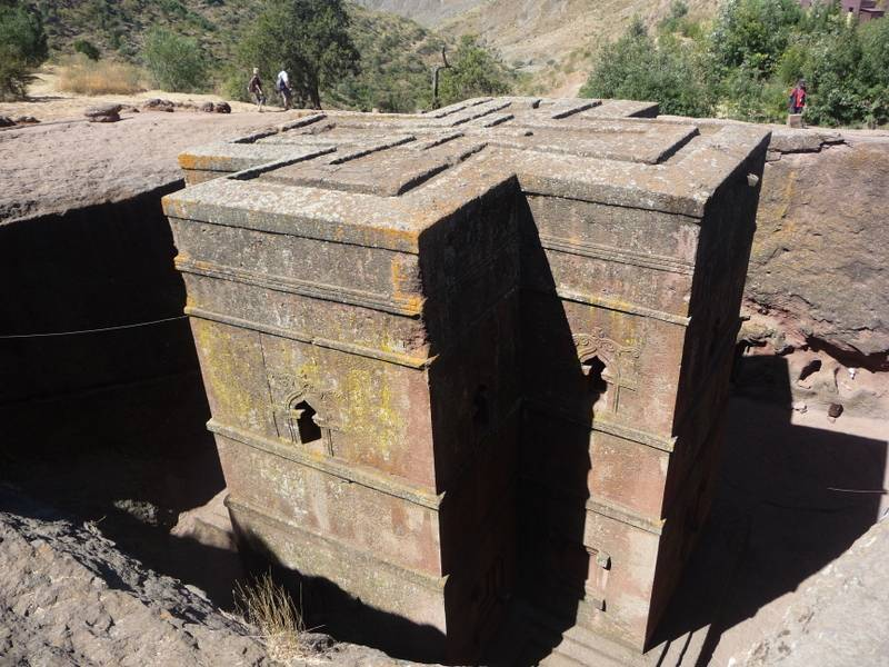 Rock hewn church Bet Giorgis from the top, Lalibela, North Ethiopia